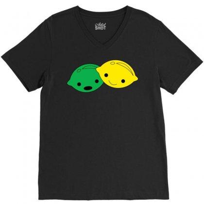 Lemon Lime V-neck Tee Designed By Ismanurmal4