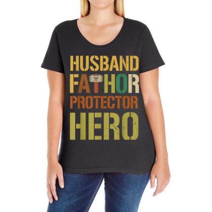 Husband Fathor Protector Hero Ladies Curvy T-shirt Designed By Kakashop