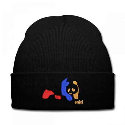 Panda Enjoi Embroidered Hat Knit Cap Designed By Madhatter