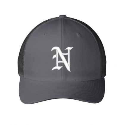 Old English Style Initial Letter N Embroidered Hat Embroidered Mesh Cap Designed By Madhatter
