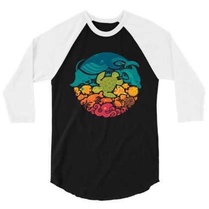 Aquarium Rainbow 3/4 Sleeve Shirt Designed By Cahyorin