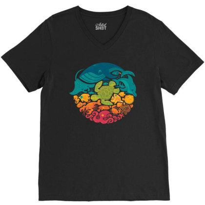Aquarium Rainbow V-neck Tee Designed By Cahyorin