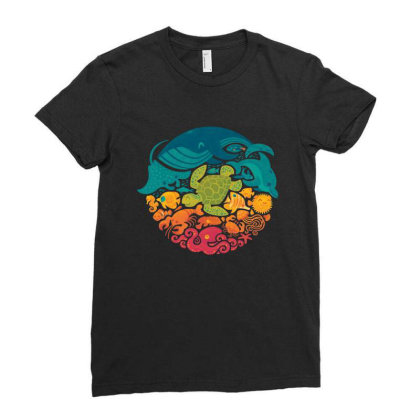 Aquarium Rainbow Ladies Fitted T-shirt Designed By Cahyorin