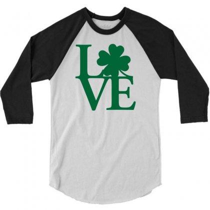 I Love Ireland 3/4 Sleeve Shirt Designed By Mdk Art