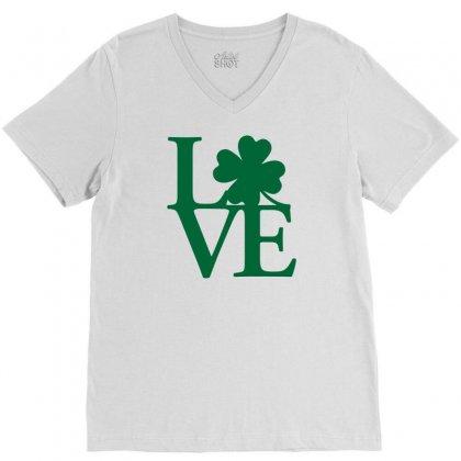 I Love Ireland V-neck Tee Designed By Mdk Art