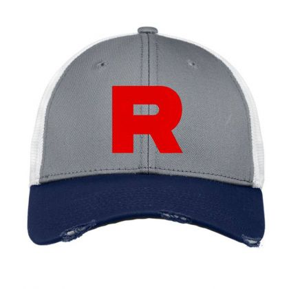 Team Rocket Embroidery Embroidered Hat Vintage Mesh Cap Designed By Madhatter