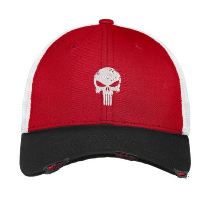The Punisher Skul Embroidery Embroidered Hat Vintage Mesh Cap Designed By Madhatter