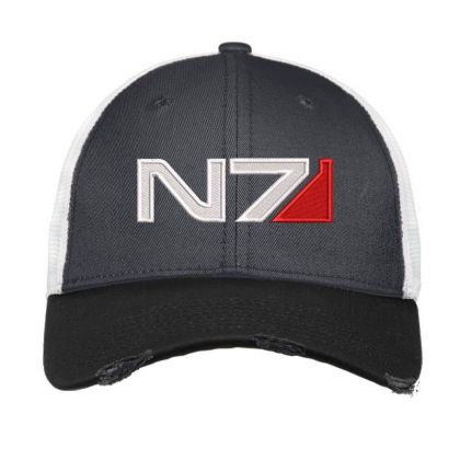 Mass Effect N7 Logo Embroidered Hat Vintage Mesh Cap Designed By Madhatter