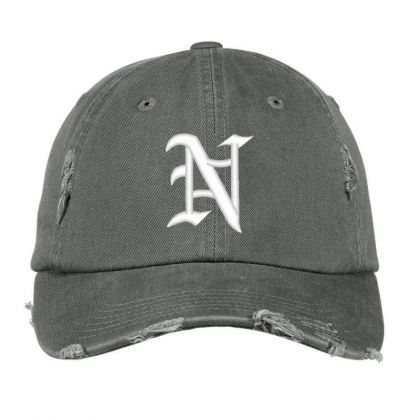 Old English Style Initial Letter N Embroidered Hat Distressed Cap Designed By Madhatter