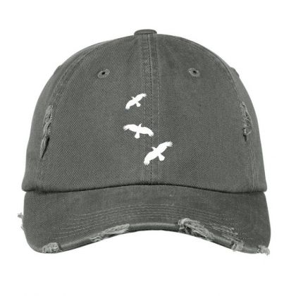 1 Color   Raven Mystical Crows Flying Birds Copy Distressed Cap Designed By Madhatter