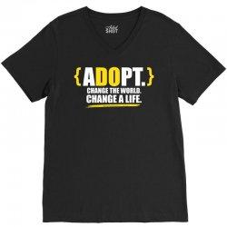 ADOPT, Change The World, Change A Life V-Neck Tee   Artistshot