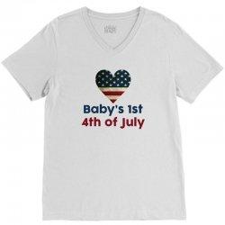 Baby's 1st 4th of July V-Neck Tee | Artistshot
