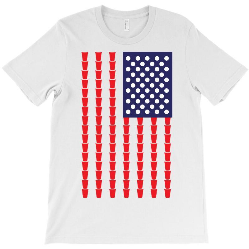 Beer Pong American Flag T-shirt | Artistshot