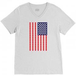 Beer Pong American Flag V-Neck Tee | Artistshot