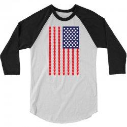 Beer Pong American Flag 3/4 Sleeve Shirt | Artistshot