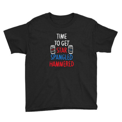 Time To Get Star Spangled Hammered Youth Tee Designed By Pinkanzee