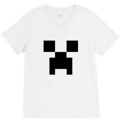 Minecraft Creeper For Green V-neck Tee Designed By Ofutlu