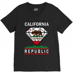 California Diamond Republic V-Neck Tee | Artistshot