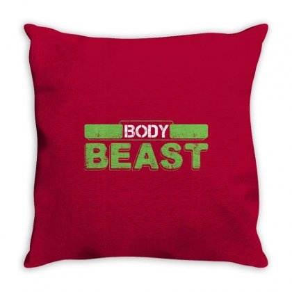Body Beast Throw Pillow Designed By Tshiart