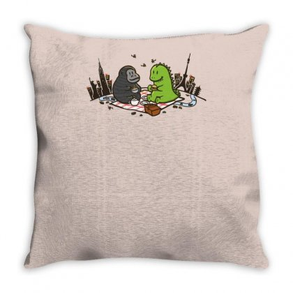 Godzilla By Kingkong Picnic Throw Pillow Designed By Gematees