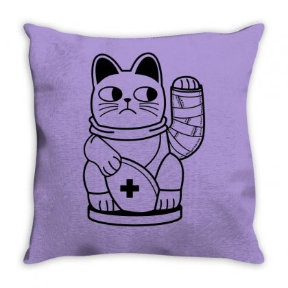 Unlucky Cat Throw Pillow Designed By Specstore