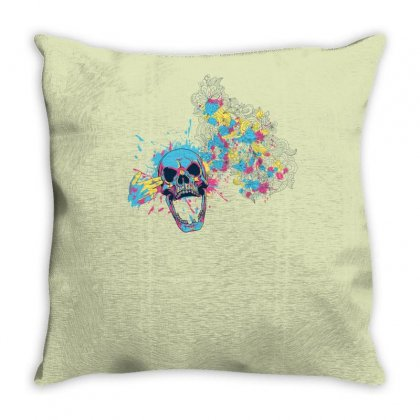 Cmyk Bang Skull Throw Pillow Designed By Specstore