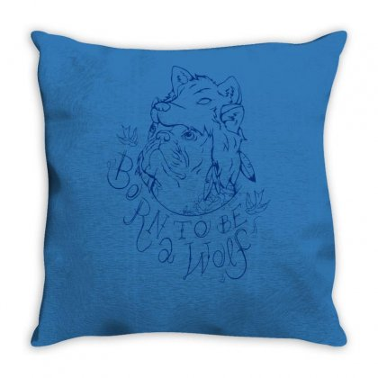 Born To Be A Wolf Throw Pillow Designed By Specstore