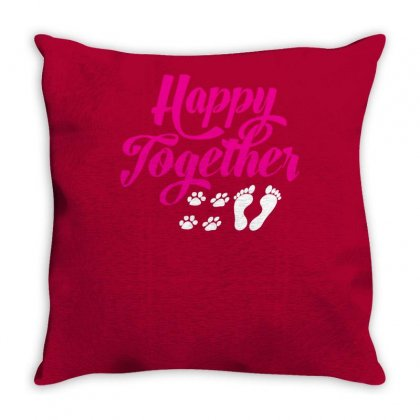 Happy Together With Pet Throw Pillow Designed By Specstore