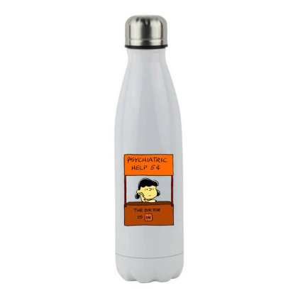 Lucy Van Pelt: The Doctor Is In Stainless Steel Water Bottle Designed By Pop Cultured