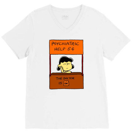 Lucy Van Pelt: The Doctor Is In V-neck Tee Designed By Pop Cultured