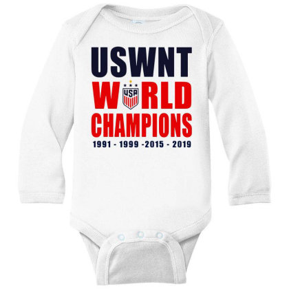 Uswnt 2019 Women's World Cup Champions Long Sleeve Baby Bodysuit Designed By Pinkanzee
