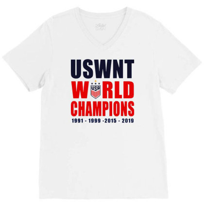 Uswnt 2019 Women's World Cup Champions V-neck Tee Designed By Pinkanzee