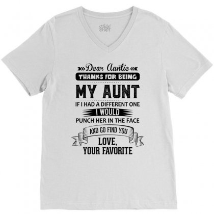 Dear Auntie, Thanks For Being My Aunt V-neck Tee Designed By Tshiart