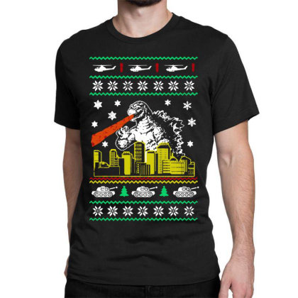 Godzilla Ugly Christmas Classic T-shirt Designed By Ande Ande Lumut