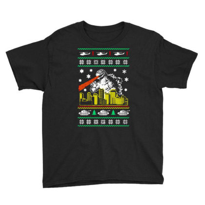 Godzilla Ugly Christmas Youth Tee Designed By Ande Ande Lumut