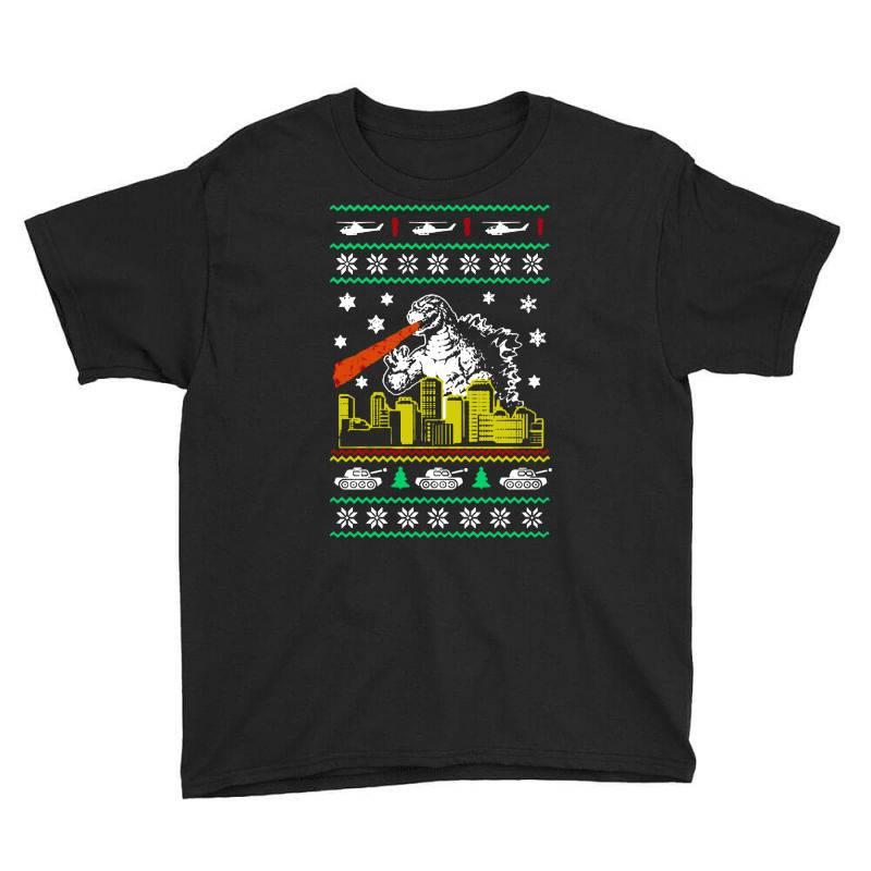 Godzilla Ugly Christmas Youth Tee | Artistshot