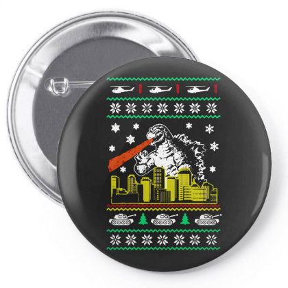 Godzilla Ugly Christmas Pin-back Button Designed By Ande Ande Lumut
