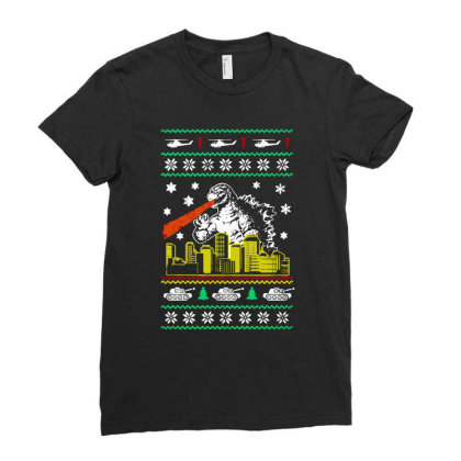 Godzilla Ugly Christmas Ladies Fitted T-shirt Designed By Ande Ande Lumut