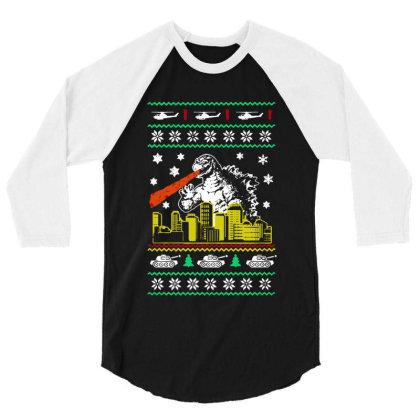 Godzilla Ugly Christmas 3/4 Sleeve Shirt Designed By Ande Ande Lumut