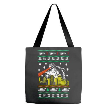 Godzilla Ugly Christmas Tote Bags Designed By Ande Ande Lumut