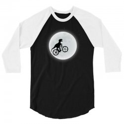 Dinosaur Riding A Bike To The Moon 3/4 Sleeve Shirt   Artistshot