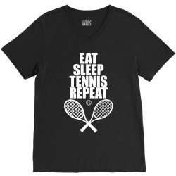 Eat Sleep Tennis Repeat V-Neck Tee | Artistshot
