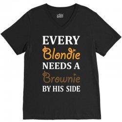 Every Blondie Needs A Brownie By His Side V-Neck Tee | Artistshot