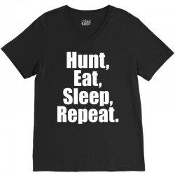 Eat Sleep Hunt Repeat V-Neck Tee   Artistshot