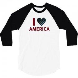 I Love America 3/4 Sleeve Shirt   Artistshot