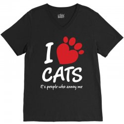 I Love Cats Its People Who Annoy Me V-Neck Tee | Artistshot