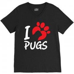 I Love Pugs V-Neck Tee | Artistshot