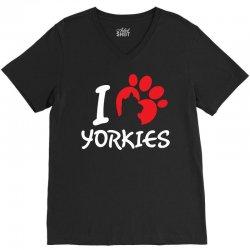 I Love Yorkies V-Neck Tee | Artistshot
