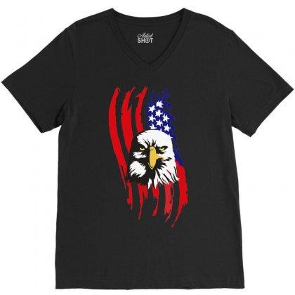 American Eagle Usa Flag Head V-neck Tee Designed By Sbm052017