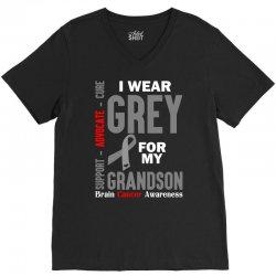 I Wear Grey For My Grandson (Brain Cancer Awareness) V-Neck Tee   Artistshot